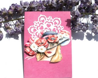 104 - Woman in flowered Hat 3d greeting card