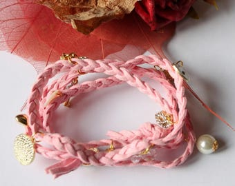 braided suede bracelet pink charm