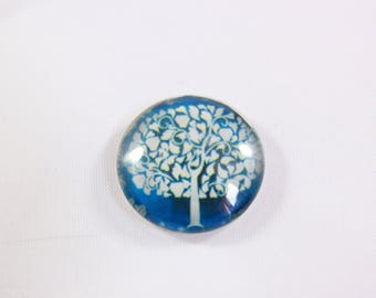 Glass cabochon, magnifying glass round 25 mm forest blue