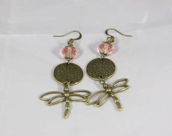 beautiful earrings with pink Crystal bead and bronze metal
