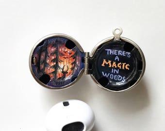 Vintage silver ball locket,Painted locket, magical lockets, hand painted locket, locket only , magical wood painting
