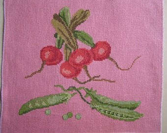 Embroidery radish and peas