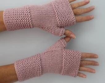 Powder Pink hand knitted mittens