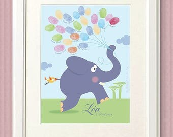 Baby Shower fingerprint / 18x24cm / 25 prints / print on paper or canvas