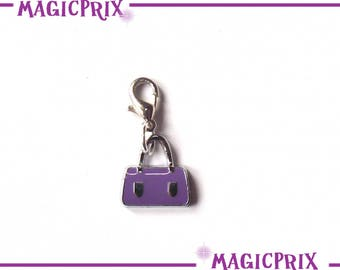 CHARM charm bag purple silver m007