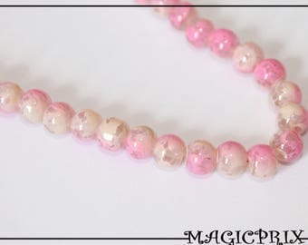 Set of 30 beads dyed 6 mm pink & Cream marble 1385