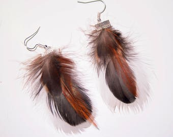 Earrings real feathers, feather bouquet