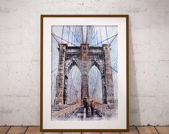 Brooklyn Bridge Print, New York Print, Bridge Sketch, Bridge Drawing, Brooklyn Bridge, New York City, Wall Art, Travel Print, Home Decor USA