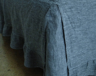 Linen Ruffled Dust Bed Skirt. Stonewashed. Twin Xl Full Double Queen King. All Sizes. Natural Bedding.