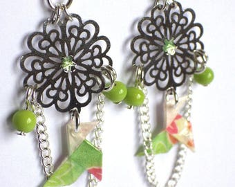 "Earrings ""Dolce Vita"" origami ""cocotte"" green on Silver (for pierced ears) print"
