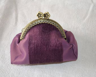 Wallet fabric satin and velvet band