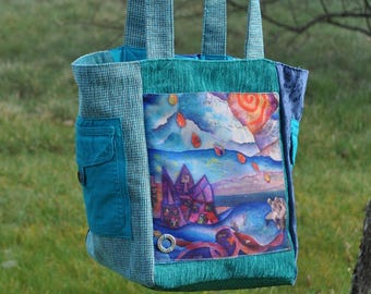 Handbag in fancy fabric with print of a painting by artist
