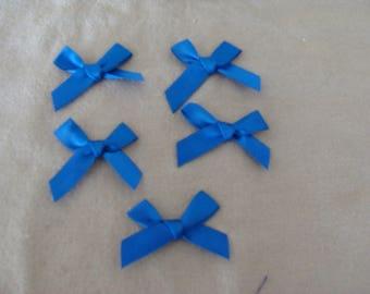 set of 5 fancy 4/3 cm Blue Ribbon bow appliques