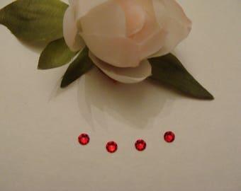 Set of 4 Swarovski Red Crystal faceted rhinestones