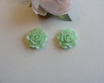 Set of 2 flower cabochon rose pale green acrylic