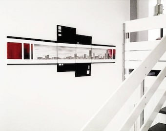 Array design, modern and contemporary. Color: black red gray white