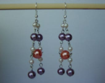 Earrings acrylic beads and links