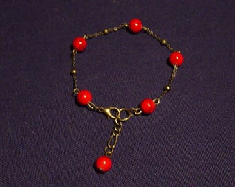 Red and bronze turquoise stone bracelet