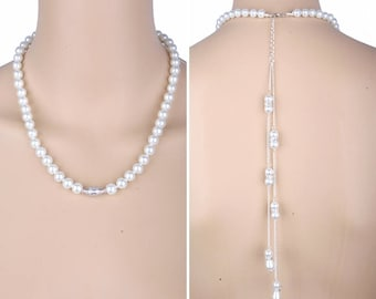 Pearl necklace with long backdrop, Pearl backdrop, wedding necklace, prom necklace