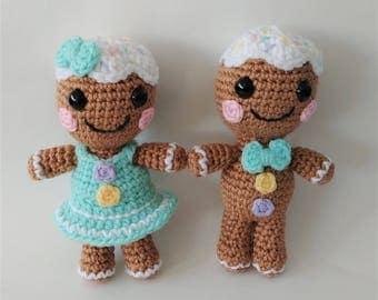 Set of 2 Crochet Gingerbread Couple / Stuffed Gingerbread man / Christmas / Stocking stuffer