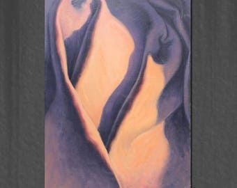 "My name is ""Hug"" 24x36- drapery oil painting"