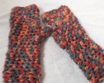 Crochet fingerless mittens in multi autumnal colours oranges/browns