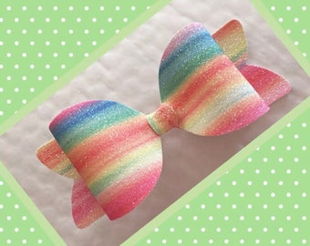 Ombre Rainbow glitter hair bow
