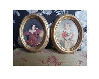 Two vintage small shabby chic frames art painting