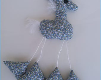 Funny giraffe blue / green for babies / children. Birthstone gift idea.