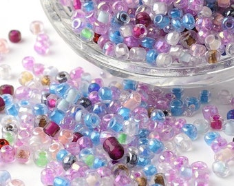 10g of multicolored 6/0 glass seed beads.