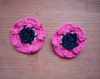 set of 2 fuchsia crochet anemones