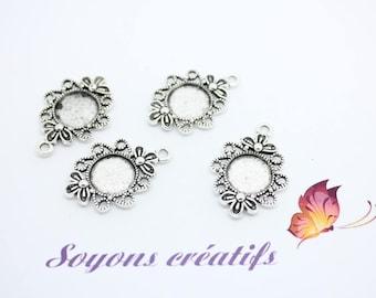 5 Silver Flower ring 12mm - charm pendants