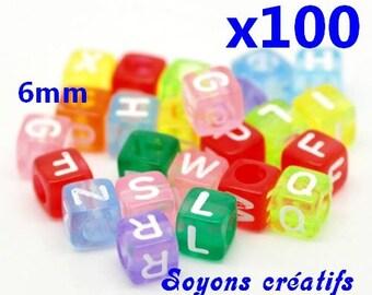 100 Acrylic beads Alphabet cubes 6mm multicolored
