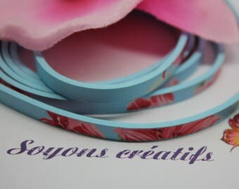 dangles of blue flowers 5mm - Creation jewels - P4603 leather strap-