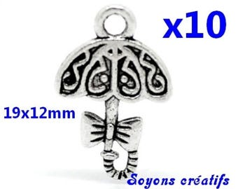Set of 10 charms silver umbrella 19x12mm