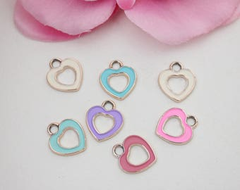 Lot 10 colorful heart 16x14mm - SC59466 charms