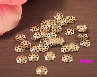 Pack of 1000 cups openwork flowers 6 mm silver beads