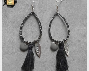 Earrings Creole drops black