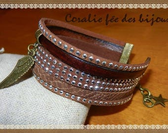 wings and star charms, Sueded studded leather Cuff Bracelet. brown tones