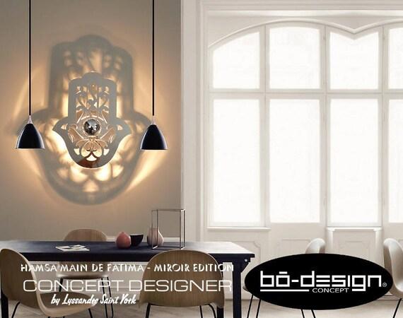main de fatima luminaire applique orientale design hamsa 70x57. Black Bedroom Furniture Sets. Home Design Ideas