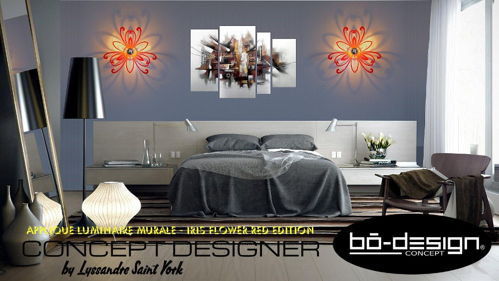 luminaire design iris fleur 35x39 cm rouge brillant applique. Black Bedroom Furniture Sets. Home Design Ideas