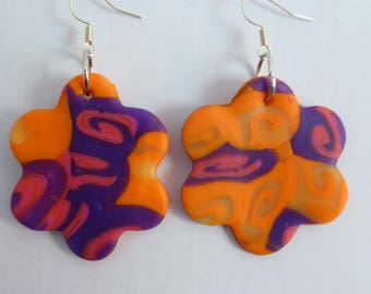 Flower orange yellow purple transluscide shape earrings
