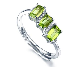 Peridot ring, green peridot ring, peridot and diamond ring, peridot engagement ring, white gold peridot ring, peridot stacking ring, Peridot