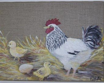 Oil on canvas - hen and chicks