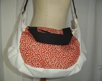 White, red and black Messenger bag