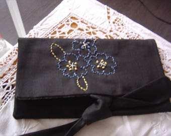 Black pouch and its blueberries