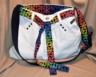 White jeans purse, women's handbag, repurposed materials, rainbow, peace signs, upcycled jeans, Rockies jeans, lots of pockets