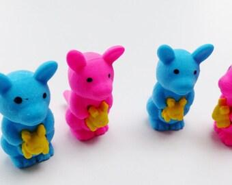 Set of 4 Kangaroo animal erasers fun supply kit