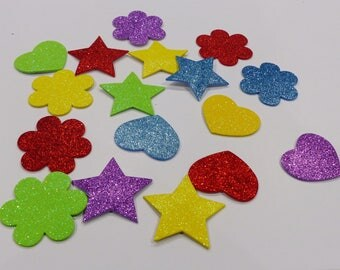 foam stickers heart star and flower glitter stickers green yellow blue red purple