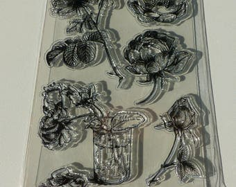 5 pads transparent flower clear stamps clear stamp